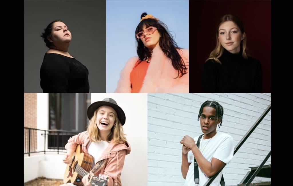 Cinq artistes gagnantes du concours 2021 pour les jeunes auteurs-compositeurs canadiens